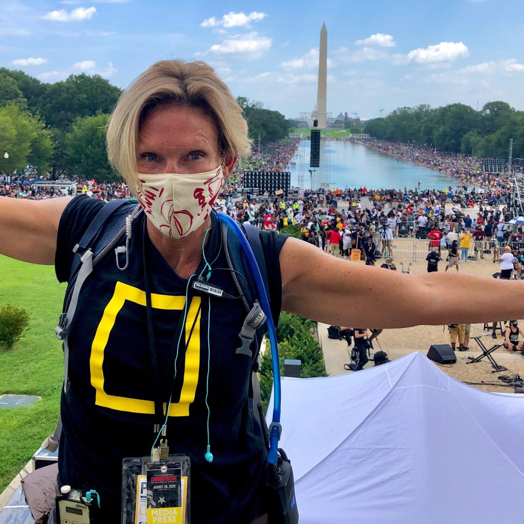 Mags Miller '90 at the Washington Monument